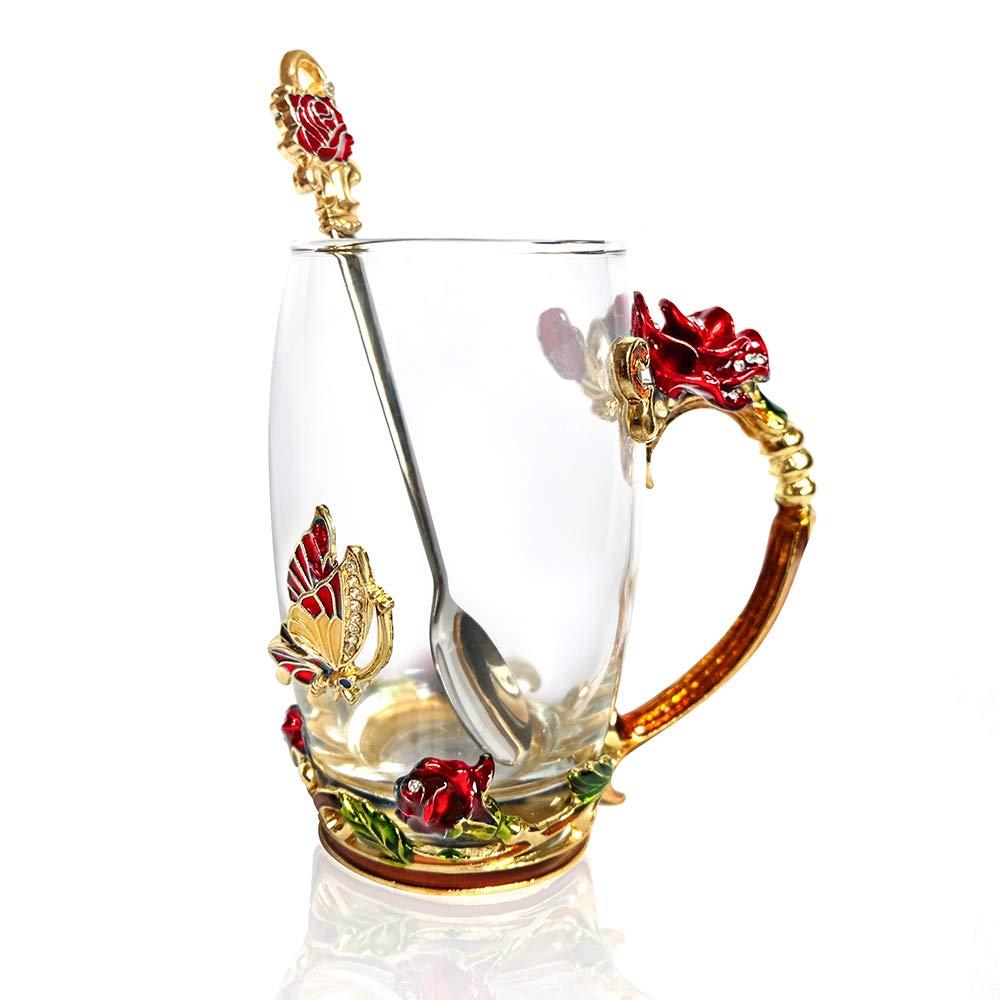 POSTWAVE Tea Cup Coffee Mug Cups Clear Glass & Spoon Handmade rose Flower Gift for Women Birthday Wedding Anniversary Valentine's Day Mom Wife Grandma