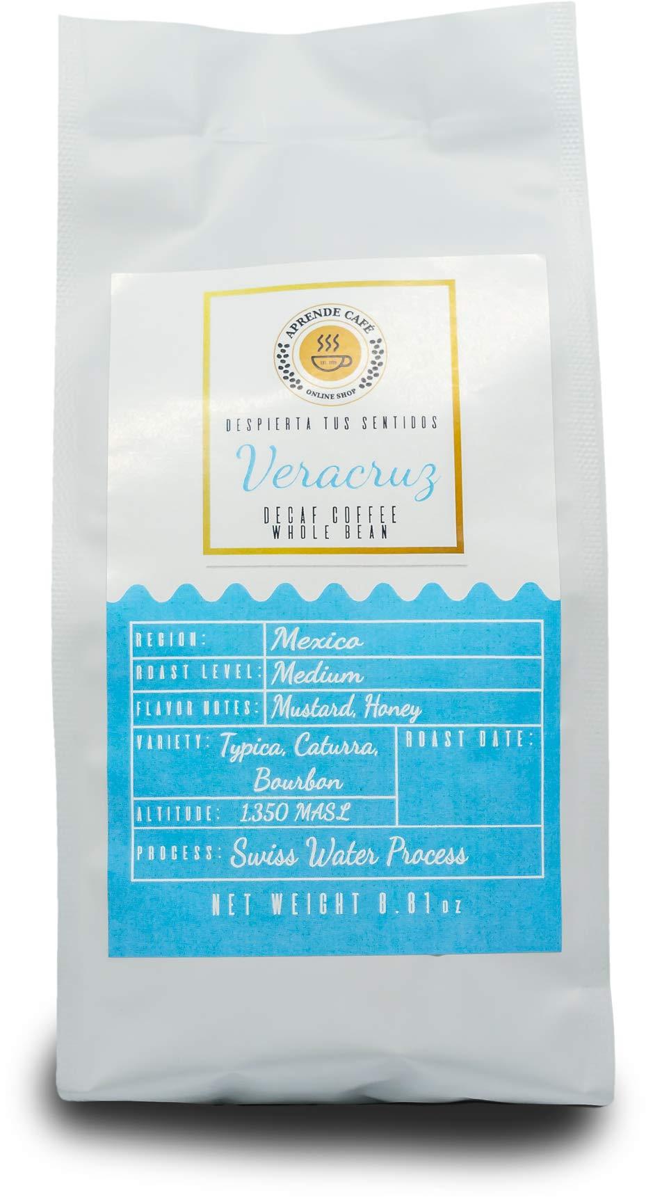 Veracruz Swiss water Process Decaf coffee. Whole Beans. Aprende cafe. (8.81 oz)
