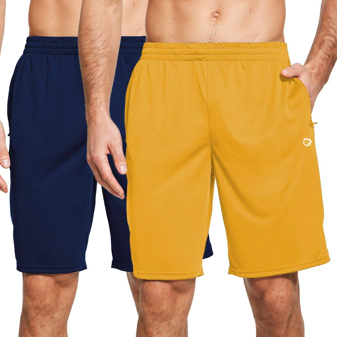 BALEAF Men's 9'' Quick Dry Running Athletic Shorts Gym Training Zipper Pockets Workout 2-Pack
