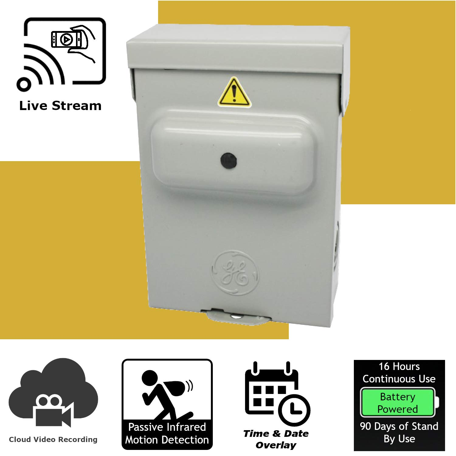 Discover IT   Wi-Fi Hidden Camera Spy Cam Home Surveillance Nanny Cam Electric Box with Cloud Video Recording, Battery Operated
