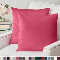 The Connecticut Home Company Velvet Throw Pillow Cases, Set of 2 Decorative Case Sets, Pillow Covers, Luxury Soft Pillowcases for Kids Room, Playroom, Bedroom, Couch, Sofa, Bed, 18x18, Bright Pink