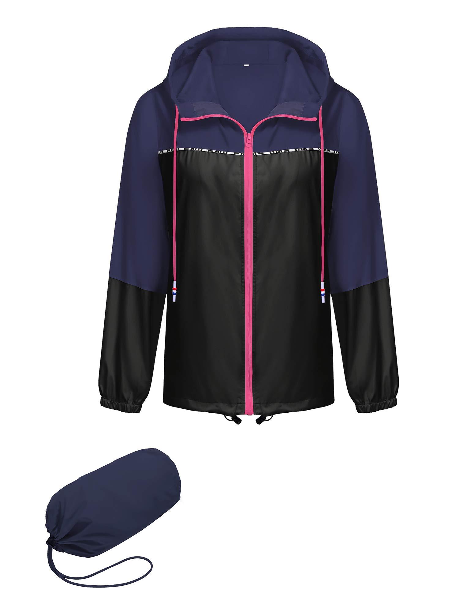Besshopie Lightweight Raincoat Women Waterproof Windbreaker Packable Outdoor Hooded Rain Jacket