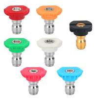 STYDDI Pressure Washer Spray Nozzle Tip Set with Multiple Degrees Nozzle and Second Story Nozzle, 7 Pack, 1/4 Inch Quick-Connect