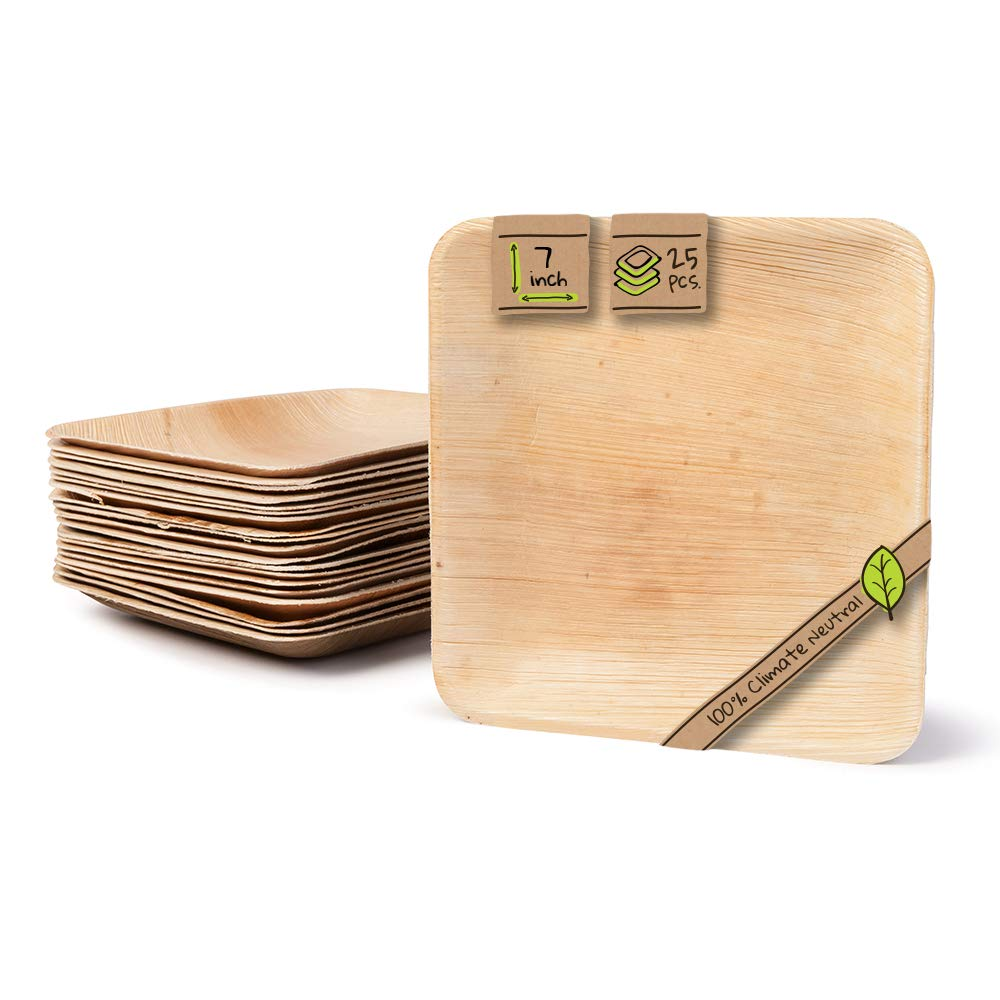 """Naturally Chic Compostable Biodegradable Disposable Plates - Palm Leaf 7"""" Square Small Dinnerware Set - Eco Friendly Alternative - Party, Wedding, Event Plates (25 Pack)"""