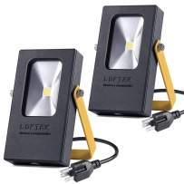 LOFTEK Outdoor Plug in Light, Nova Mini 10W LED Flood Light, 1000 Lumens, Soft White 5000K Spotlight, IP65 Waterproof Outdoor Security Spotlight, Black&Yellow 2-Pack