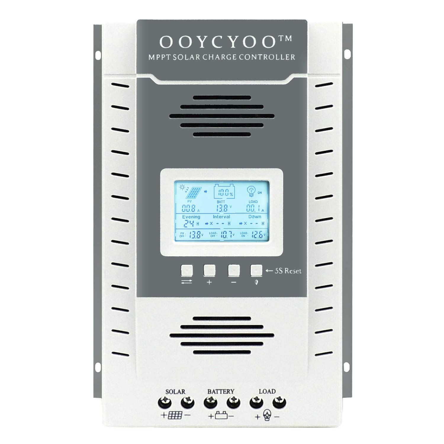 Temank 60A MPPT Solar Charge Controller 12V/24V Auto, 60 amp Solar Charge Regulator Max 96V, 780W/ 1560W Input, for Lead-Acid Battery Load Timer Setting