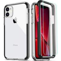 COOLQO Compatible for iPhone 11 Case, Clear 360 Full Body Coverage Hard PC+Soft Silicone TPU 3in1 Shockproof Phone Cover Certified Military Protective with [2 x Tempered Glass Screen Protector]-Black