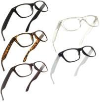 Reading Glasses 1.00 | 5 Pack Spring Hinge Trendy Readers for Men and Women [5 Pack, 1.00]