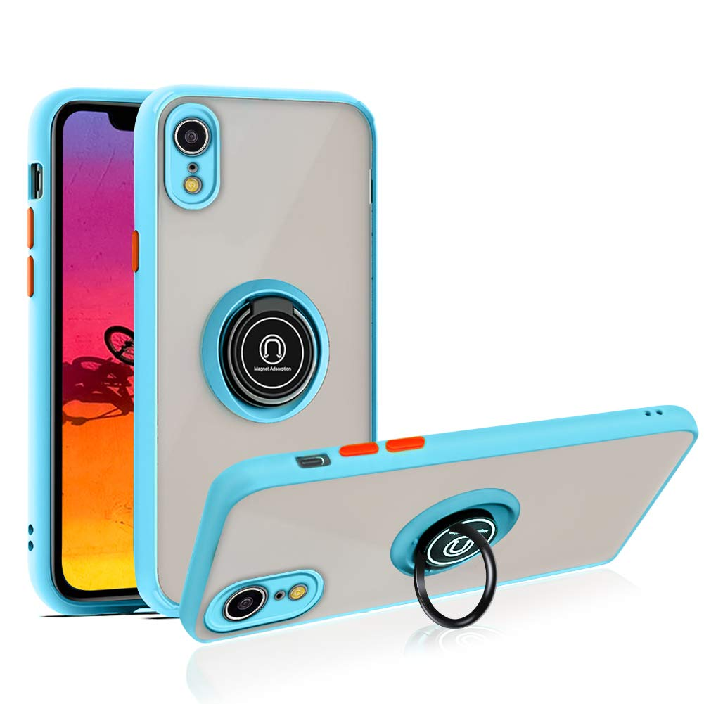 SOKAD iPhone Xr Case with Ring 6.1 inch, Anti-Scratch Case with 360 Degree Rotation Finger Ring Kickstand Work with Magnetic Car Mount Compatible for iPhone Xr (2018) - Baby Blue