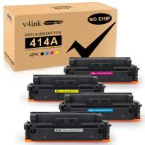 v4ink [NO CHIP] Compatible Toner Cartridge Replacement for HP 414A M454dw M479fdw 4 Packs for use in HP Color Laserjet Pro MFP M479fdw M479fdn M454dw M454 M454dn Black Cyan Yellow Magenta Printer