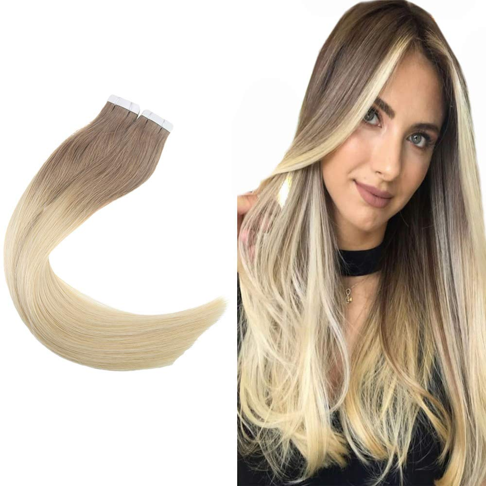 Easyouth 20inch Tape in Hair Extensions 100g 40pcs Ombre Color 6 Medium Brown Fading to 613 Skin Weft Extensions Tape in Hair Extensions Real Human Hair Tape on Hair Glue in Hair