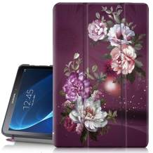 """Hocase Galaxy Tab A 10.1 (SM-T580) Case 2016 Release, PU Leather Case w/Flower Design, Tri-Fold Stand Feature, Hard Back Cover for Galaxy Tab A 10.1"""" 2016 (NO S Pen Version) - Burgundy Flowers"""
