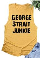 Country Music Tank Tops George Strait Rodeo Shirt for Women Letter Print Casual Muscle Top Summer Rodeo Tshirt