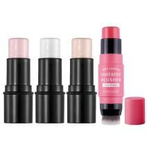 CCbeauty Illuminator Face Highlighter Makeup Sticks Whitening Cream Shimmer Powder Double Ended Cream Blush Stick Set