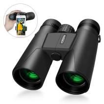 Compact Binoculars 10x42 with Low Light Night Vision, iKALULA Large Eyepiece Waterproof Binocular for Adult & Kids,High Power Easy Focus Binoculars for Bird Watching,Outdoor Hunting,Travel,Sightseeing
