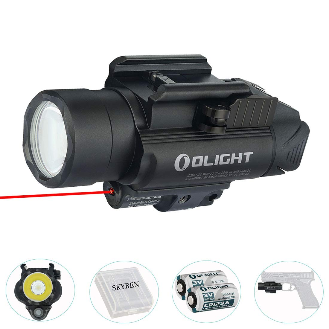 SKYBEN Olight Baldr RL 1120 Lumens Tactical Flashlight with Red Light, Compatible with 1913 or Glock Rail, Powered by 2 CR123A Batteries, Battery Box Included(Black)