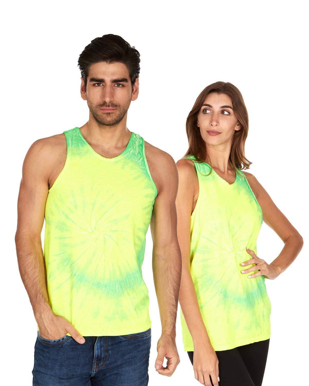Tie Dye Tank Top Men Women - Fun Bright Colotful Tops, Flo Yellow & Lime, Large