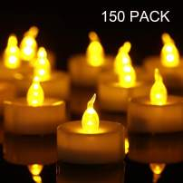 Tea Lights, 150 Pack Flameless LED Tea Lights Candles Flickering Warm Yellow 100+ Hours Battery-Powered Tealight Candle. Ideal for Party, Wedding, Birthday, Gifts and Home Decoration (150 Pack)