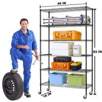 "6 Tier Standing Shelf Units, NSF Heavy Duty Height Adjustable Storage Shelf Metal Shelving with Wheels/Feet Levelers for Garage Rack Kitchen Rack Office Rack Commercial Shelving Black - 18""x48""x82"""
