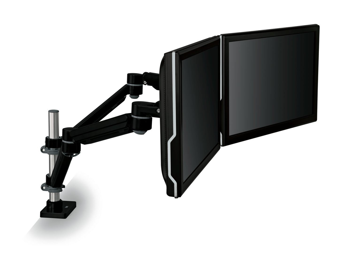 """3M Easy Adjust Desk Mount Dual Monitor Arm, Adjust Height, Tilt, Swivel and Rotate by Holding and Moving Monitor, Free Up Desk Space, Clamp or Grommet, For Monitors to 20 lbs <= 27"""", Black (MA260MB)"""