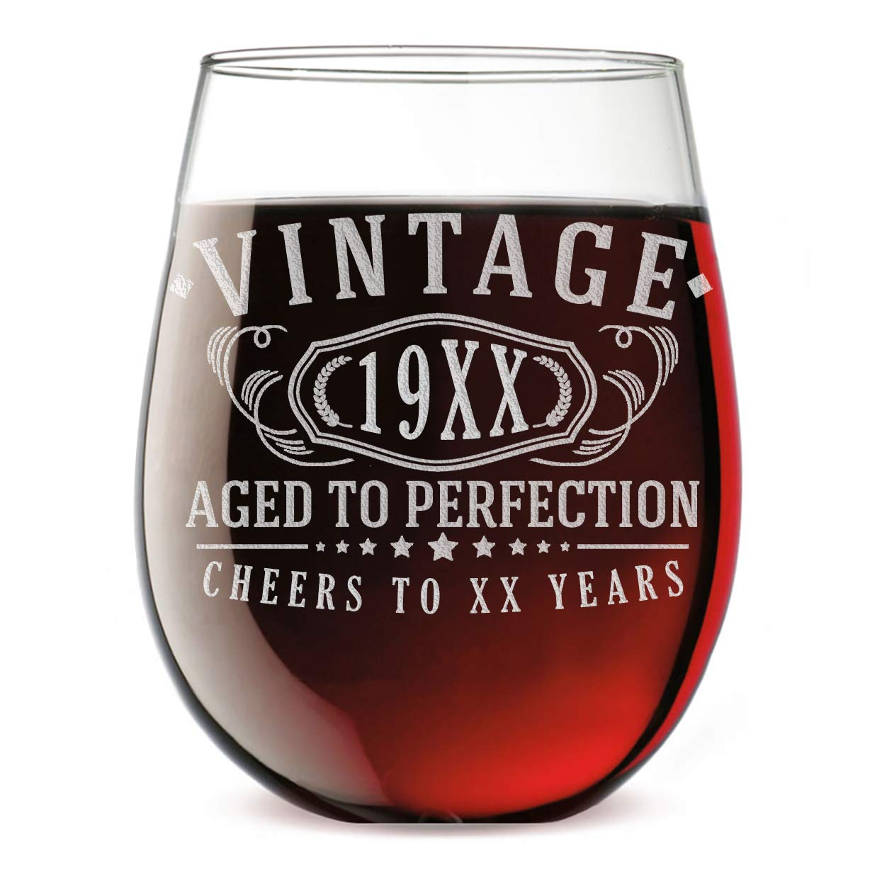 Custom Age Etched Birthday 17oz Stemless Wine Glass - Vintage Aged to Perfection