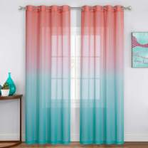 NICETOWN Pink and Blue Ombre Sheer Curtains for Bedroom Girls Room Decor, Semi-Sheer Curtains for Girls Room Decor Kids Nursery Decoration (55 x 84 Inch Length, Set of 2)