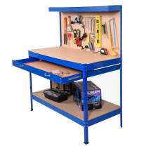 Safstar Multipurpose Workbench Workshop Tool Storage Tabletop Workstation Assembly Worktable with Sliding Organizer Drawer (Blue)