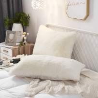 Uhamho Set of 2 King Faux Fur Throw Pillow Covers Soft Velvet Decorative Pillowcases Zipper Closure(20 x 36 Inches Light Beige)