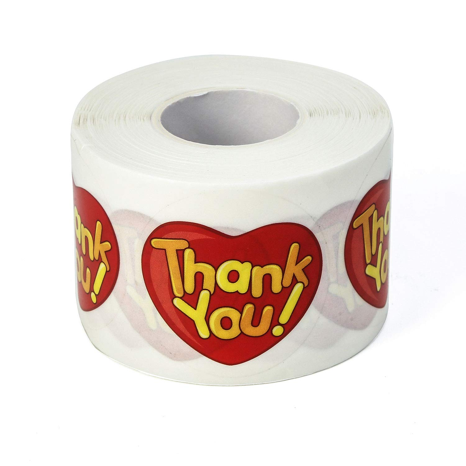 1.5 Inch Thank You Stickers for Gifts, Wedding, Party, Thank You Labels by Crystal Lemon (450 Pieces, Red Heart Plastic)