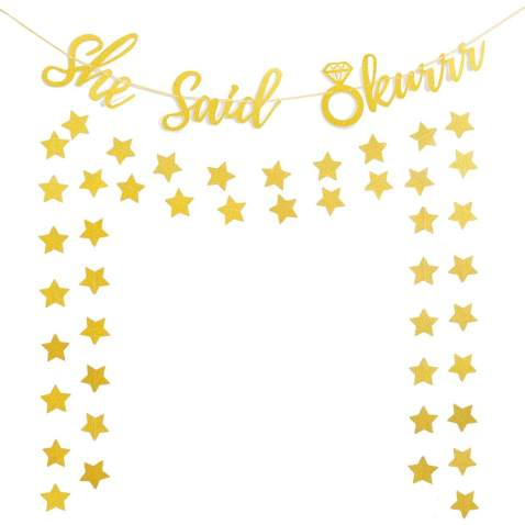 Bachelorette Party Decorations Glittery Gold She Said Okurrr Banner & Star Paper Garlands Bridal Shower Engagement Wedding Girls Night Hen Party Supplies Funny Photo Prop