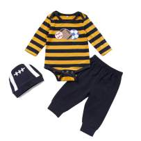 Seyouag Baby Boy Outfits Long Sleeves Football Print Striped Romper Pants Outfit with Hat 3Pcs Fall Clothes Set