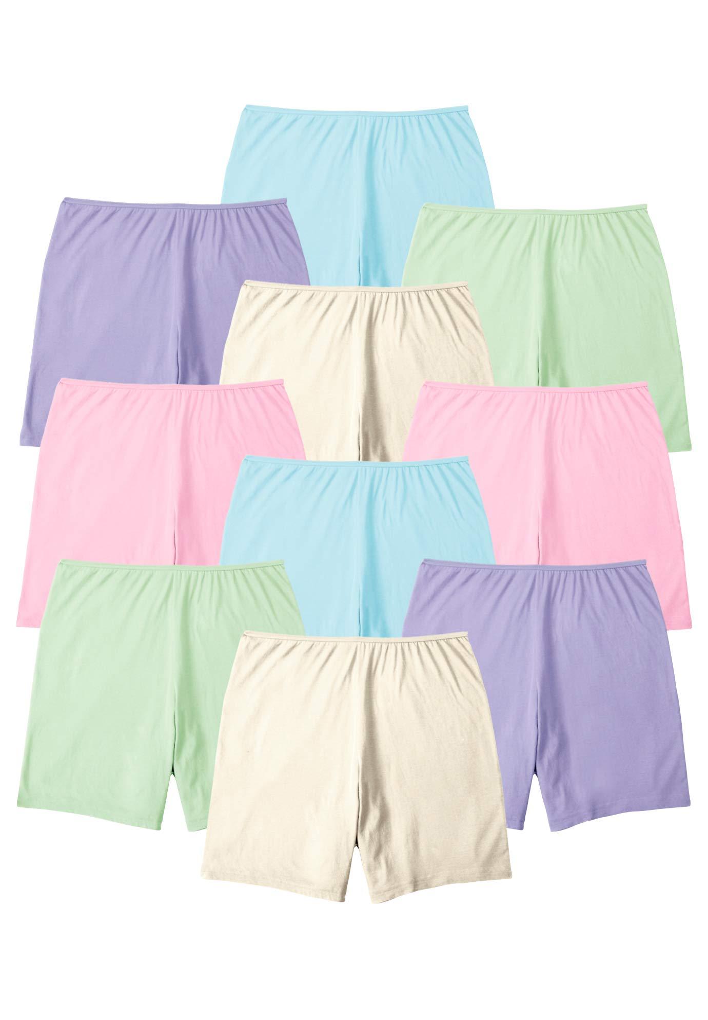 Comfort Choice Women's Plus Size 10-Pack Cotton Boyshort