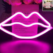 QiaoFei Upgraded LED Neon Pink Lips Wall Signs Led Neon Light Art Decorative Lights Wall Decor for Children Baby Room Christmas Wedding Party Decoration