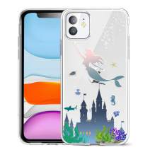 Unov Case Clear with Design for iPhone 11 Case Slim Protective Soft TPU Bumper Embossed Pattern Cover 6.1 Inch (Mermaid Castle)