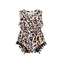 Summer Infant Baby Girls Romper Sleeveless Leopard Tassel Bodysuit Jumpsuit Outfit 0-24M One-Piece