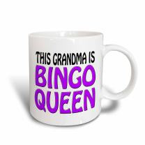 3dRose This grandma is bingo queen, Purple Mug, 11 oz