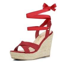 Allegra K Women's Espadrille Platform Lace Up Wedges Sandals