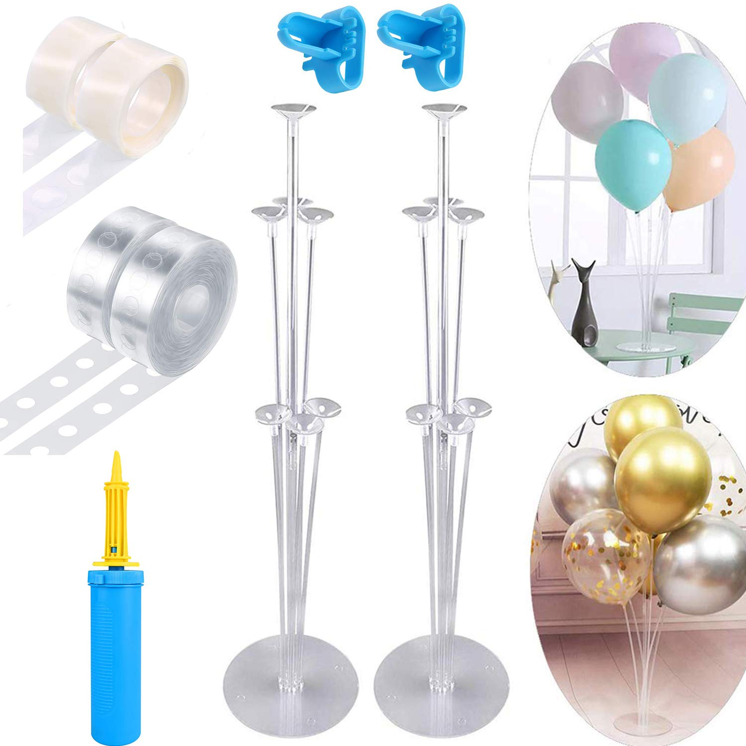 MUYEE Balloon Decorating Strip Kit - Best Choice for Balloon Arches, Balloon Columns, Balloon Garlands, Balloon Holders, Includes 2 Balloon Stand Kit, 200 Dot Glue , 1 Balloon Pumps ,2 Tying Tools for Party Wedding Birthday Xmas Baby Shower DIY