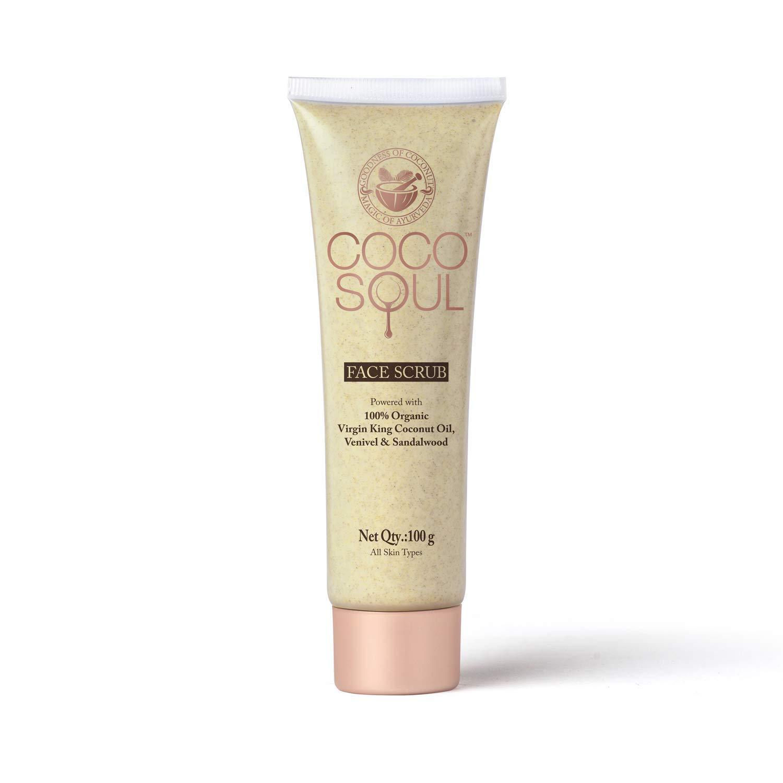 Coco Soul Ayurvedic & Coconut Face Scrub - 3.38 fl.oz. (100g) - Venivel & Sandalwood, Virgin King Coconut, Sulphate Free, Paraben Free, Silicone Free, DEA Free, Cruelty Free