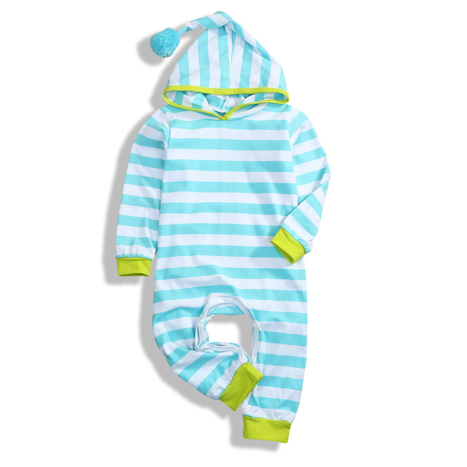 HAPPYMA Baby Boy Girls Stripe Hoodie Outfits Christmas Bodysuit Crawling Suit Newborn Infant Xmas Clothes