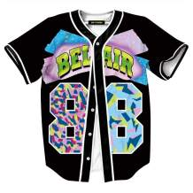 HOP FASHION Unisex 90s Theme Party Bel Air Baseball Jersey Short Sleeve Shirts Hip Hop Tops for Birthday Party
