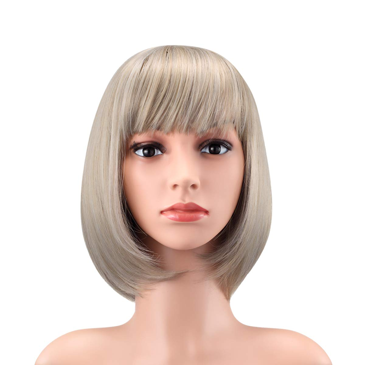 """WENDY HAIR Heat Resistant Short Bob Hair Wigs 12"""" Straight with Flat Bangs Synthetic Colorful Daily Cosplay Party Wig for Women Natural As Real Hair, Dusky Gold"""