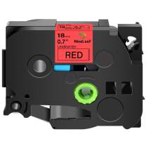 """NineLeaf Replacement P-Touch Laminated Label Tape Compatible for Brother TZ-441 TZe-441 TZe441 Labelling (3/4"""" X 26.2', 18mm x 8m, Black on Red) 1PK"""