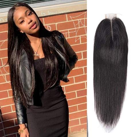 Daimer 2x6 Lace Closure Human Hair Silky Straight 2x6 Middle Part Closure With Baby Hair 100% Unprocessed Brazilian Virign Remy Hair Natural Color Wet And Wavy (20 Inch)