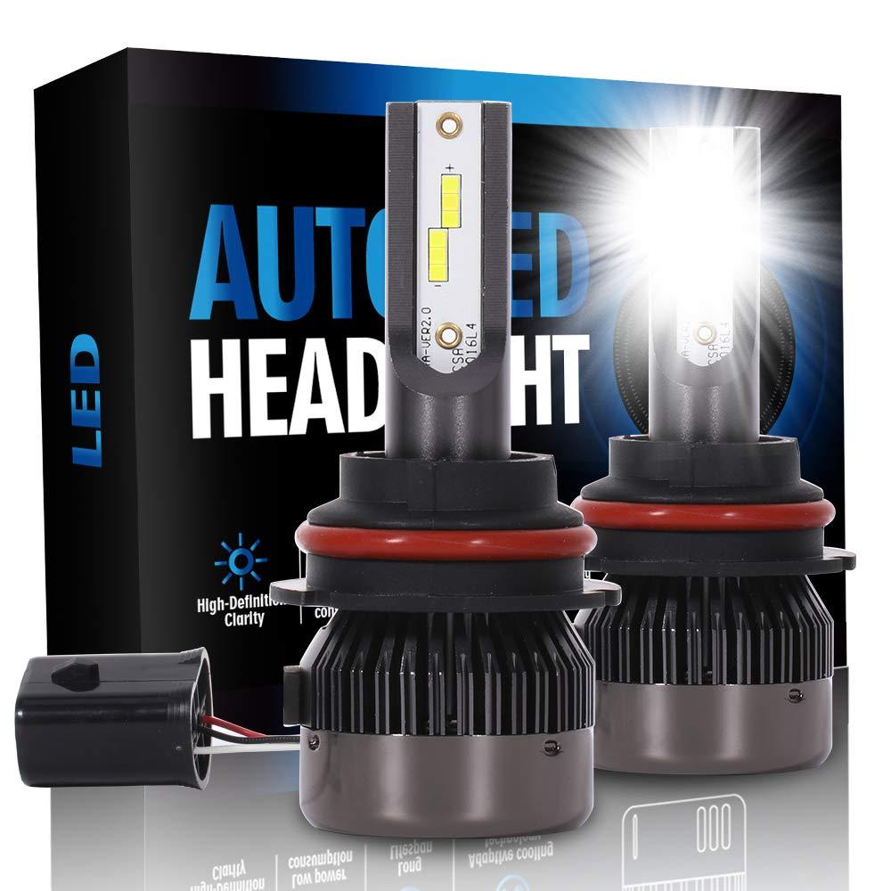 ECCPP 9007 LED Headlight Bulb Hi/Lo Beam White Headlamp Conversion Kit - 80W 6000K 9600Lm 24xCSP Chips - 1 Year Warranty(Pack of 2)