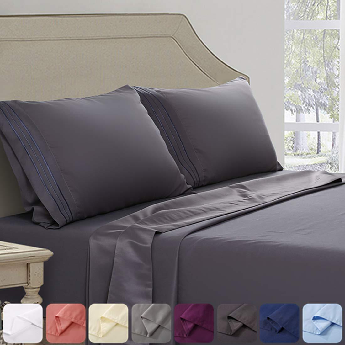 Abakan Twin Bed Sheet Set 3 Piece Super Soft Brushed Microfiber 1800TC Hotel Luxury Premium Cooling Sheet Breathable, Wrinkle, Fade Resistant Deep Pocket Bedding Sheet Set (Twin, Dark Grey)