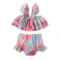Baby Swimsuit Girl Mermaid Print Layered Strap Top Ruffled Bottom Swimsuit 2-Piece Outfits