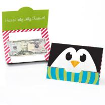 Big Dot of Happiness Holly Jolly Penguin - Holiday and Christmas Money and Gift Card Holders - Set of 8