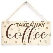 "Meijiafei Takeaway Coffee Sign - Kitchen Coffee Station Plaque 10"" X 5"""