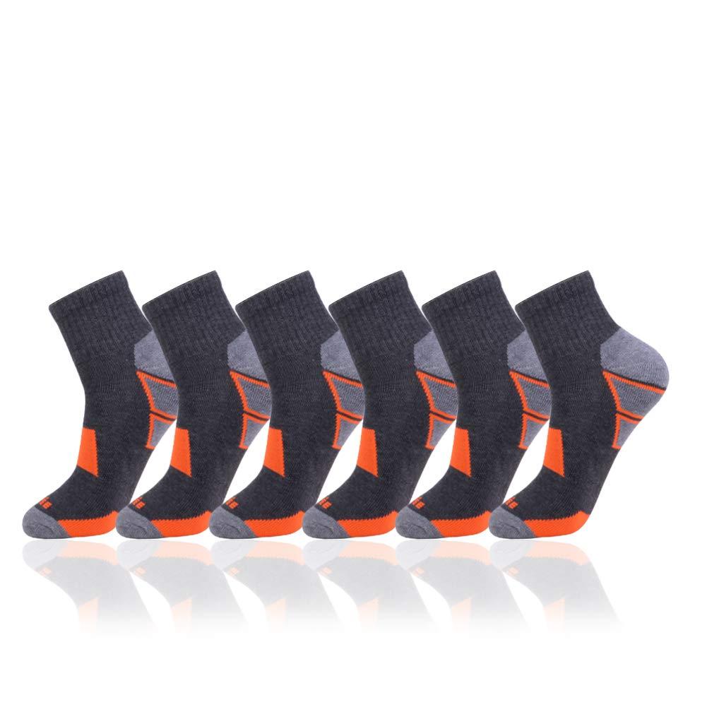 JOYNÉE Men's 6 Pack Athletic Performance Cushion Ankle Running Quarter Socks
